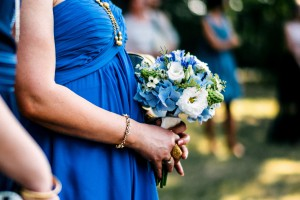 свадебный букет синий голубой белый